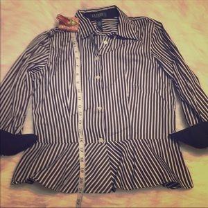 Ralph Lauren black white striped shirt peplum 4pet